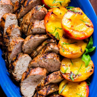 Grilled Pork Tenderloin & Peaches