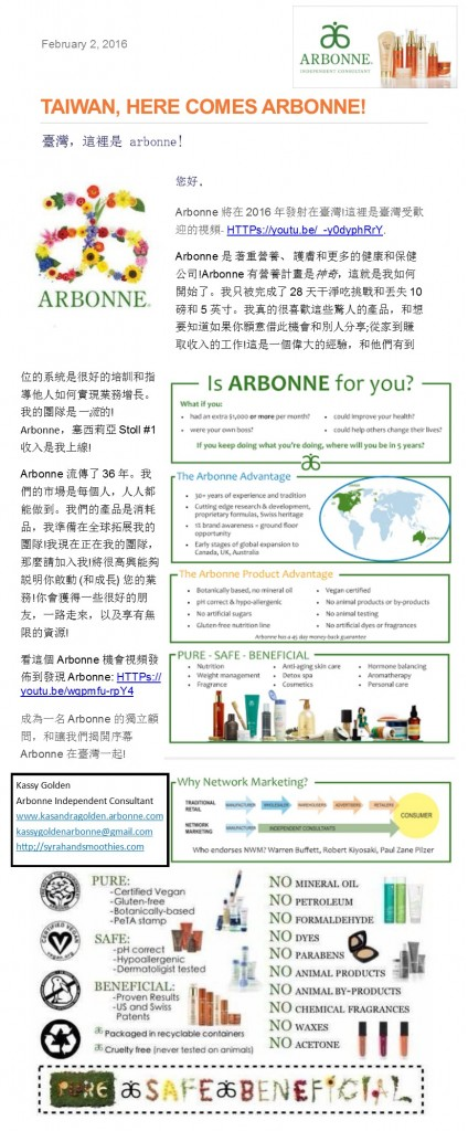 Taiwan newsletter - ChangingLives2Pure - Healthy Living